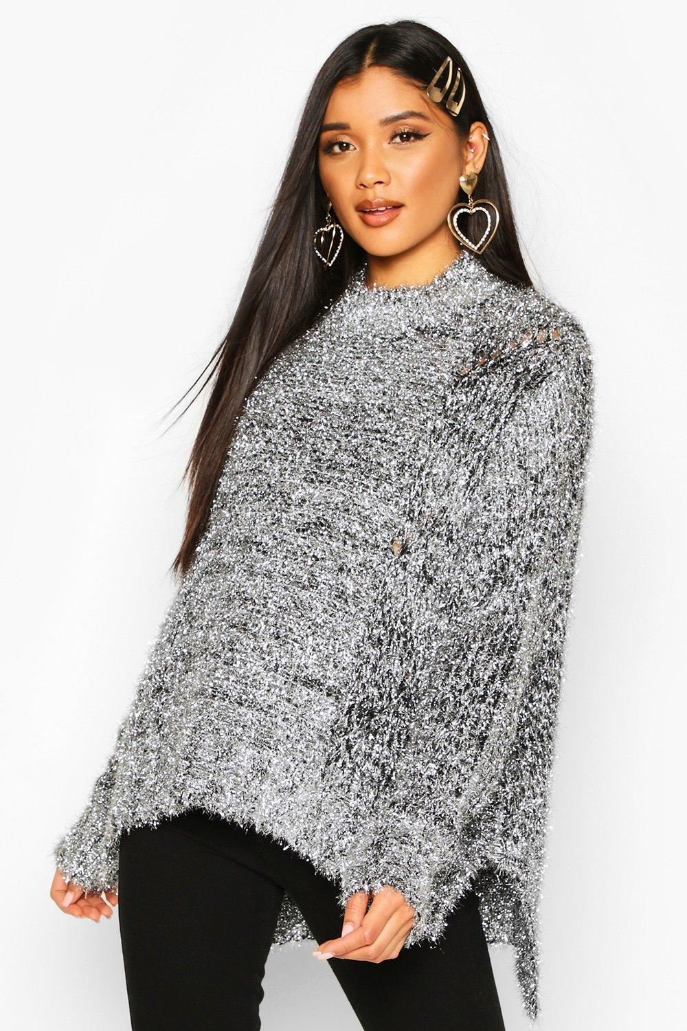Womens Oversize Pullover mit Flitter - silber - S/M, Silber - Boohoo.com