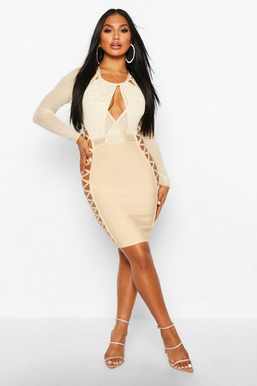 Stone Boutique Mesh Lace Side Extreme Bandage Dress