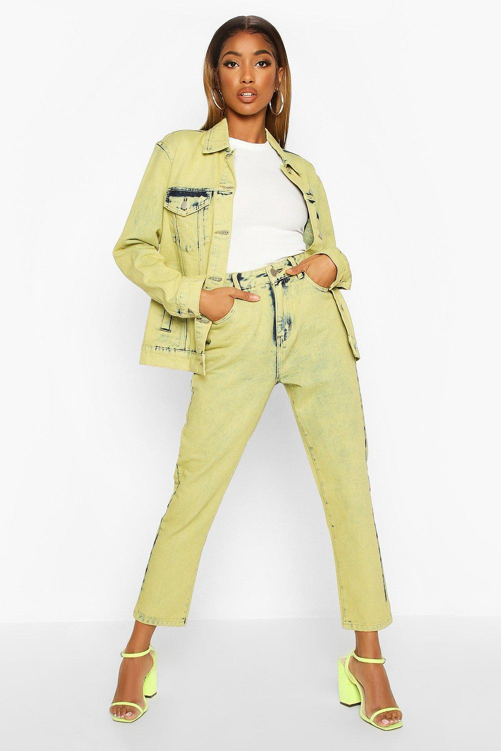 Don't Miss Out Lime Acid Wash Mom Jeans