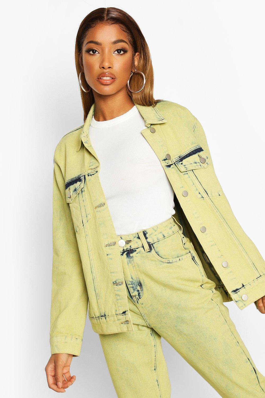 Don't Miss Out Lime Acid Wash Denim Jacket