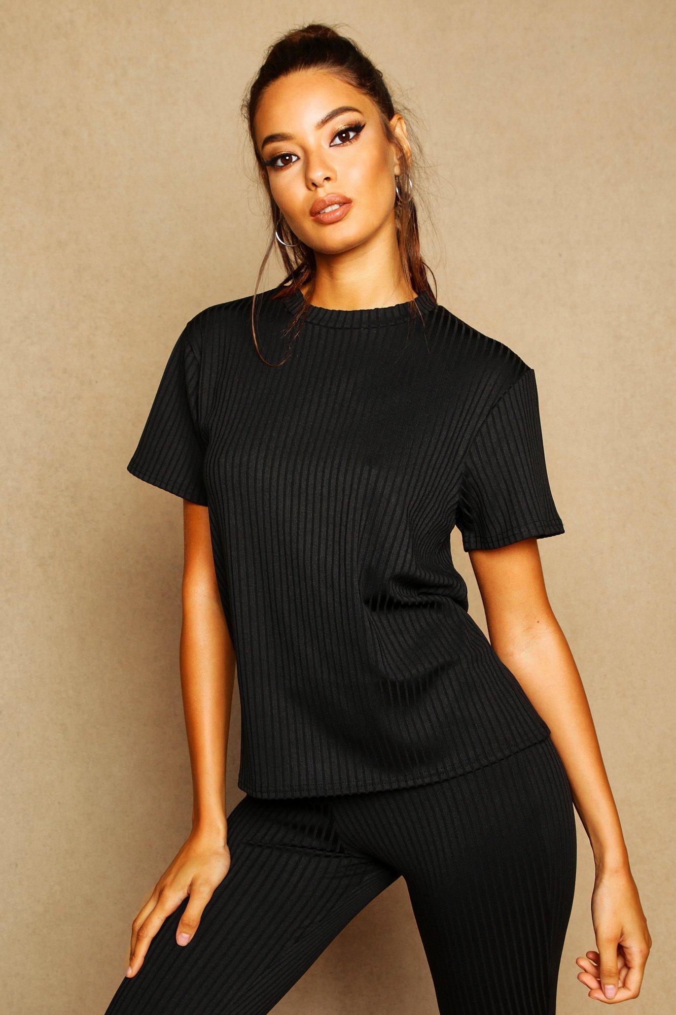 Womens Geripptes Oversize T-Shirt mit Seitenschlitz - schwarz - 32, Schwarz - Boohoo.com