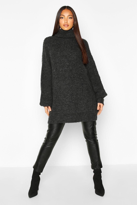 Womens Gdressing gownr Oversized-Strickpullover mit Rollkragen - schwarz - S/M, Schwarz - Boohoo.com