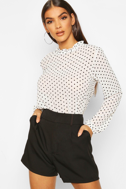 Womens Hochgeschlossene beflockte Bluse mit Tupfen-Print - Weiß - 38, Weiß - Boohoo.com