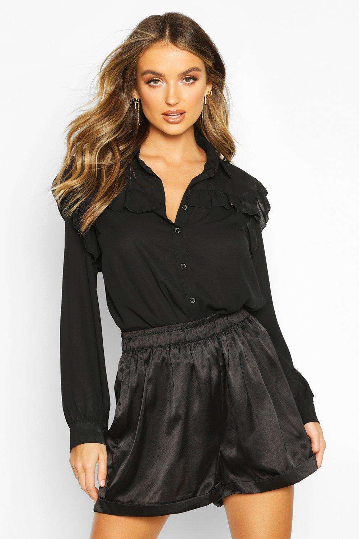 Womens Hemd mit Rüschen - schwarz - 36, Schwarz - Boohoo.com