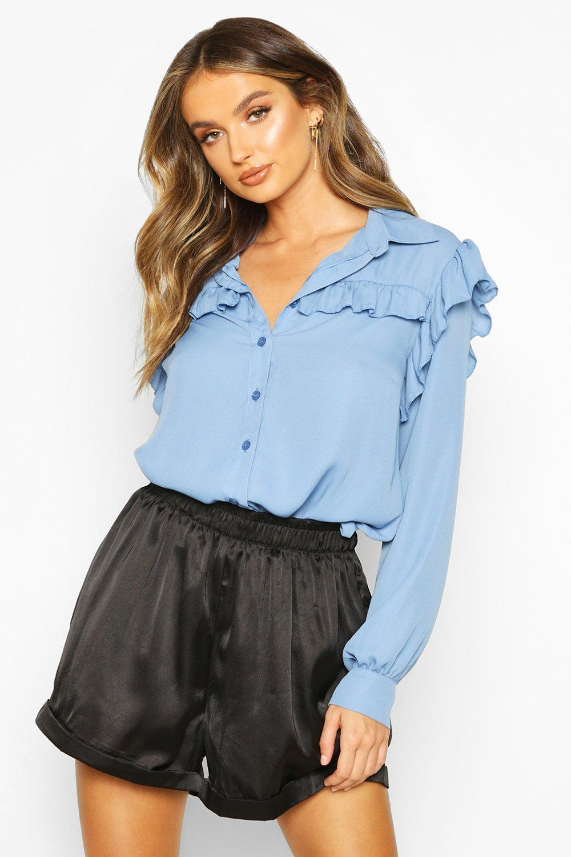 Womens Hemd mit Rüschen - blassblau - 38, Blassblau - Boohoo.com