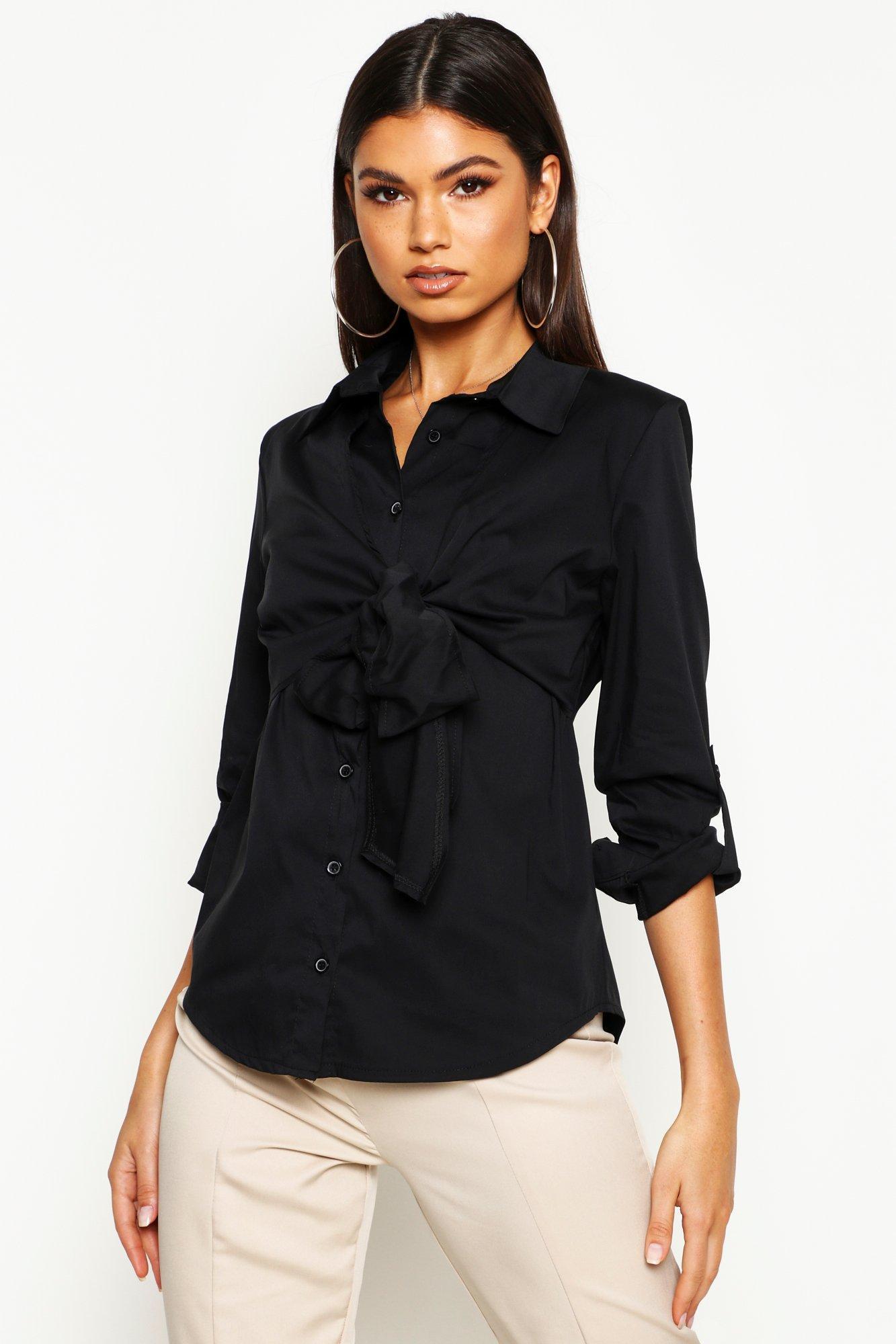 Womens Baumwollhemd mit Zierknoten - schwarz - 34, Schwarz - Boohoo.com