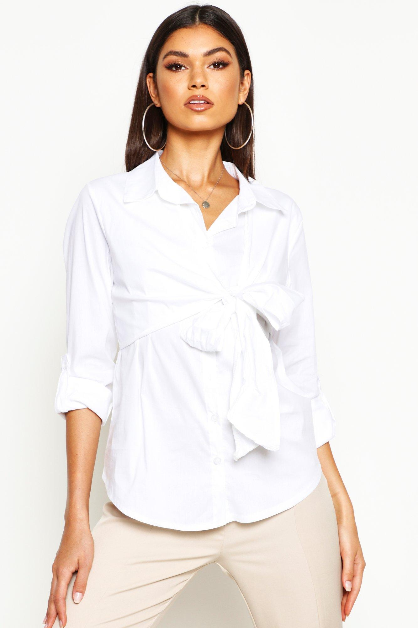 Womens Baumwollhemd mit Zierknoten - Weiß - 34, Weiß - Boohoo.com