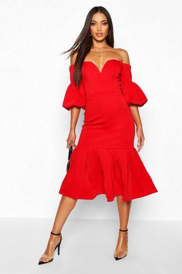 Red Plunge Puff Sleeve Frill Hem Midi Dress