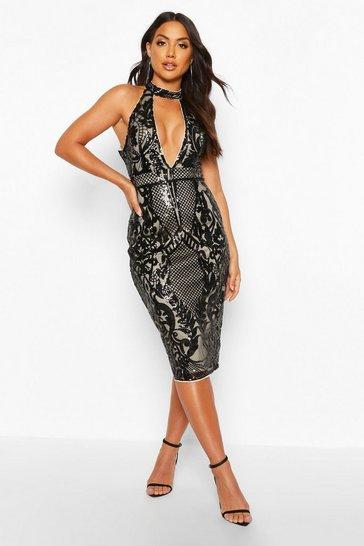 Black Sequin Plunge Halterneck Midi Dress