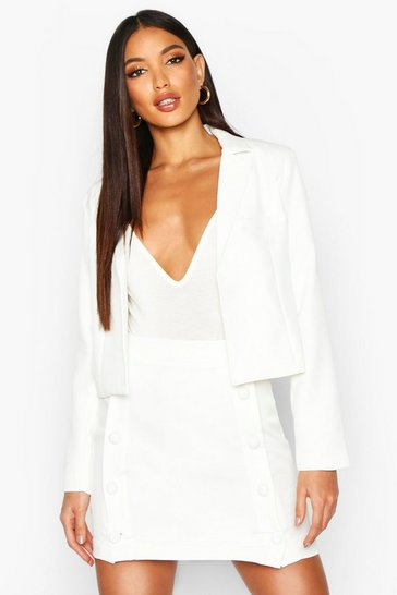 Ivory Button Front Tailored Mini Skirt