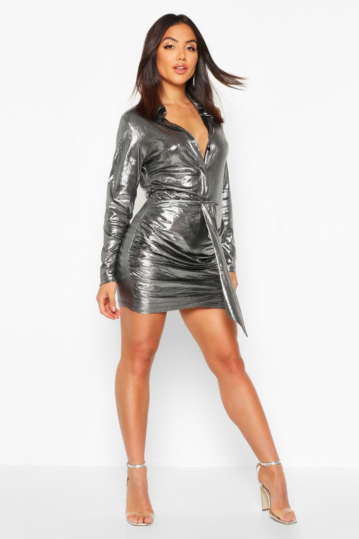 Womens Metallic-Hemd - silber - 40, Silber - Boohoo.com