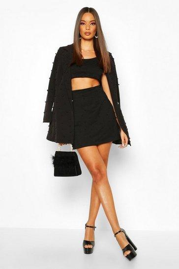 Black All Over Pearl Embellished Mini Skirt