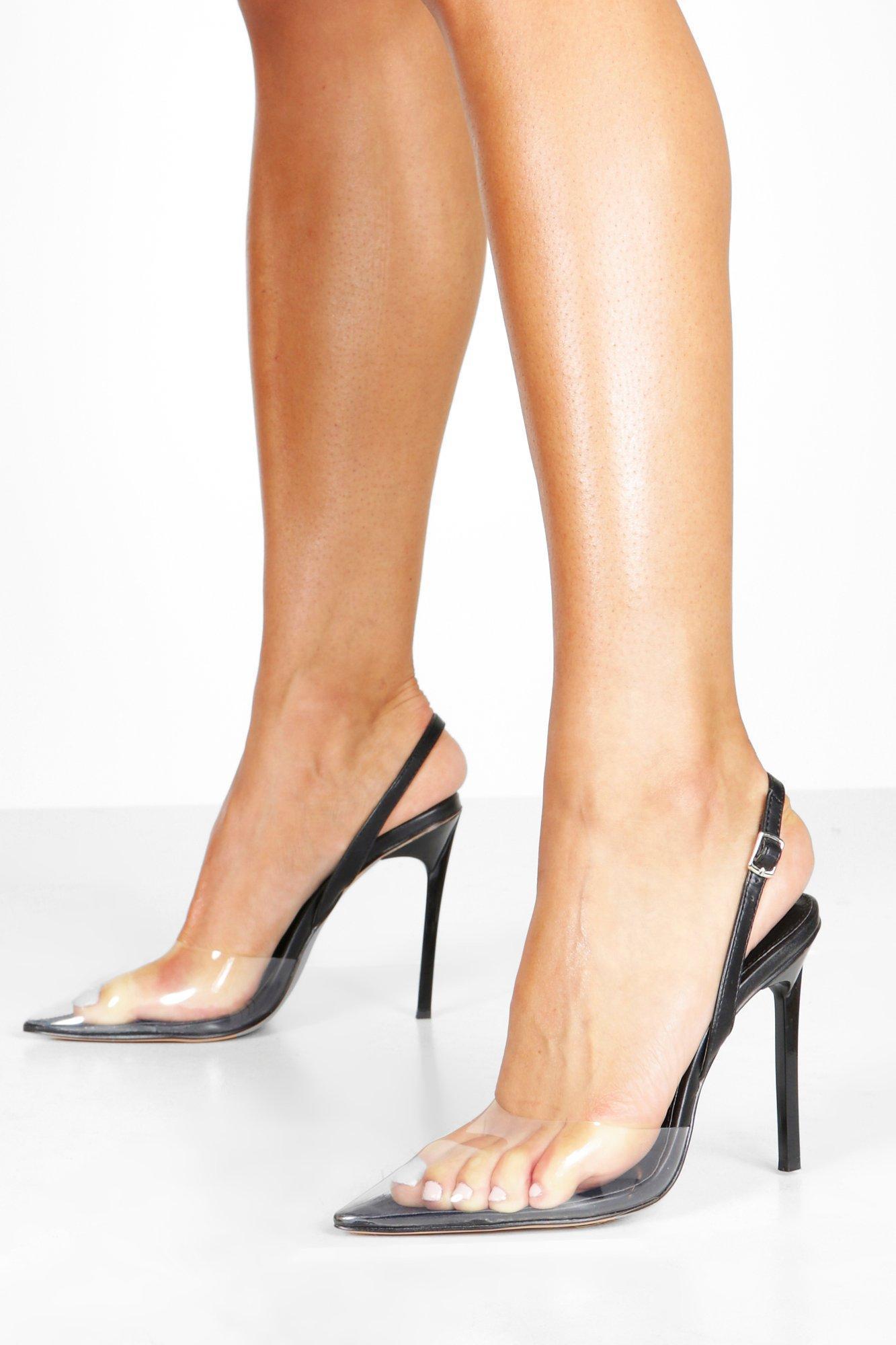 Прозрачные остроконечные туфли-лодочки с ремешком на пятке фото