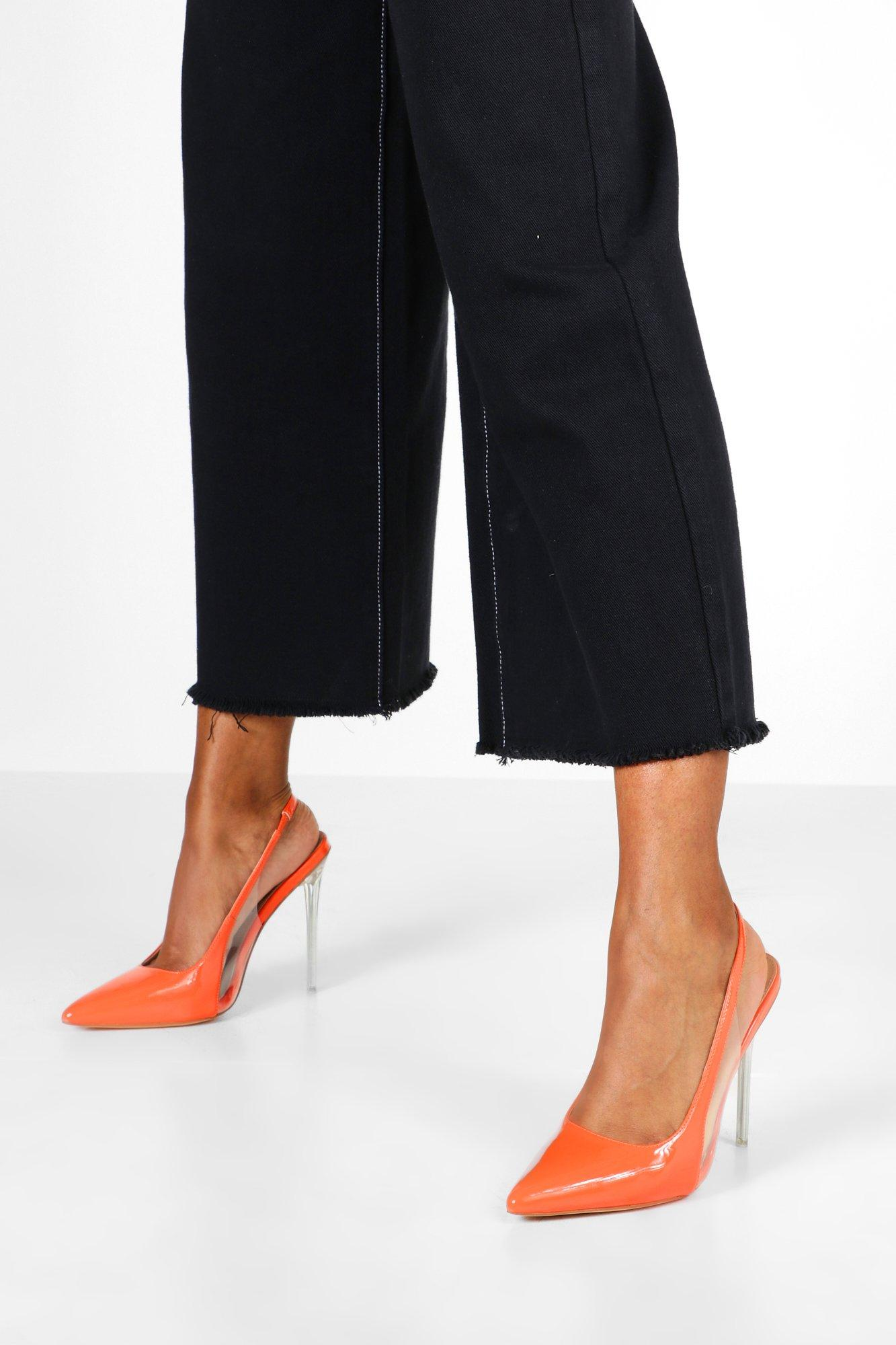 Don't Miss Out Clear Panel Stiletto Pointed Courts