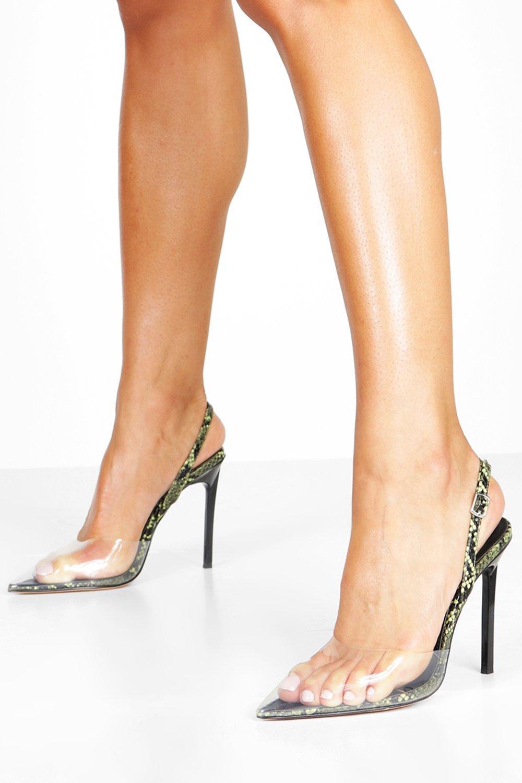 Прозрачные остроконечные туфли-лодочки с ремешком на пятке под змею фото