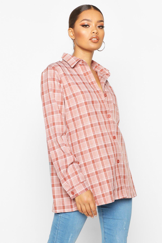Womens Kariertes Hemd aus Webstoff - Terrakotta - 32, Terrakotta - Boohoo.com
