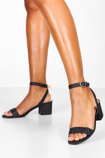 Black Glitter Block Heel 2 Parts