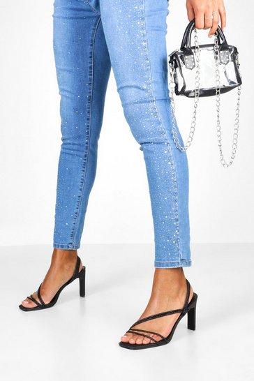 Black Glitter Low Heel Sandals