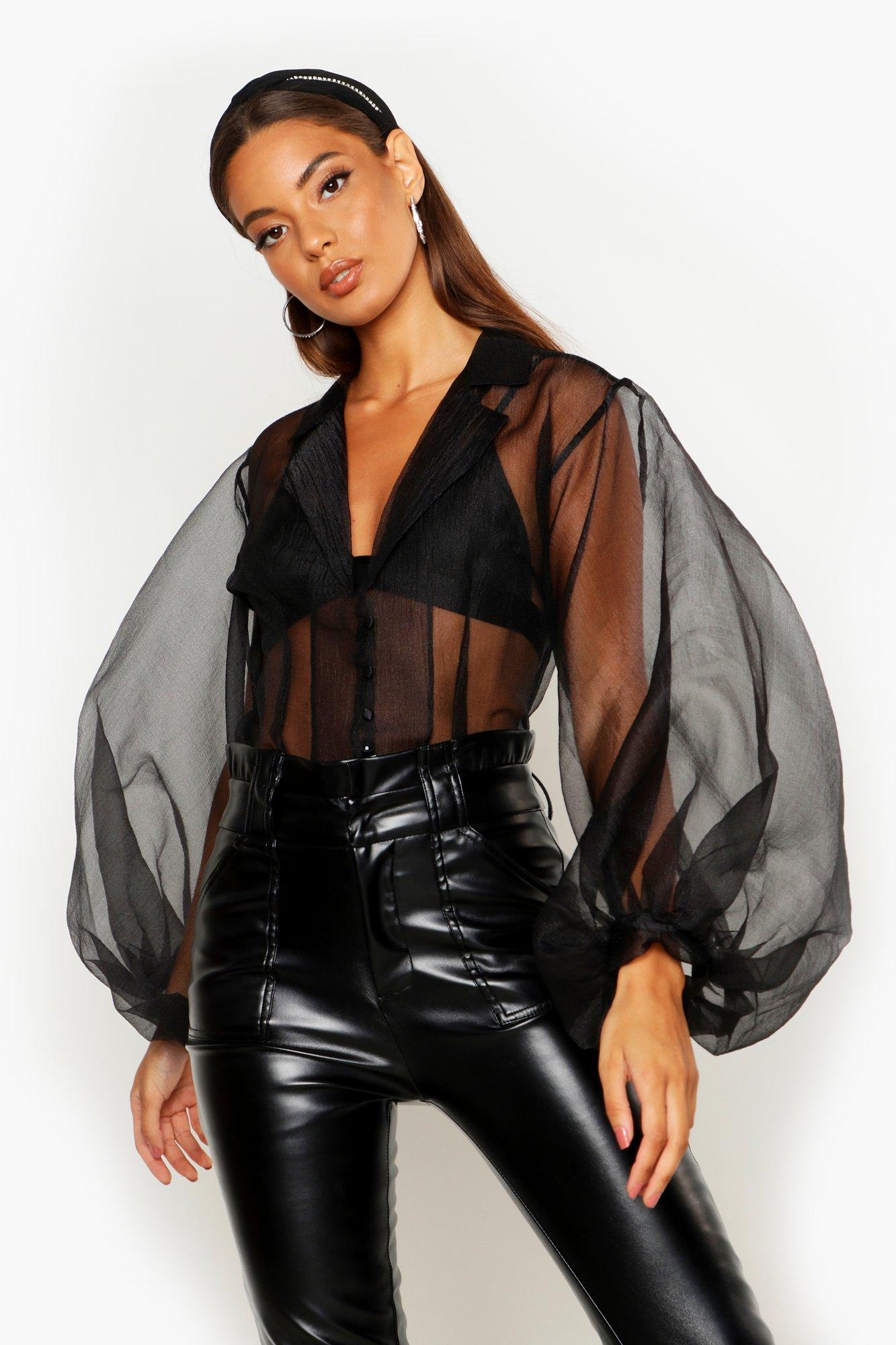 Womens Hemd aus Organza mit Puffärmeln und Knopfleiste - schwarz - 34, Schwarz - Boohoo.com
