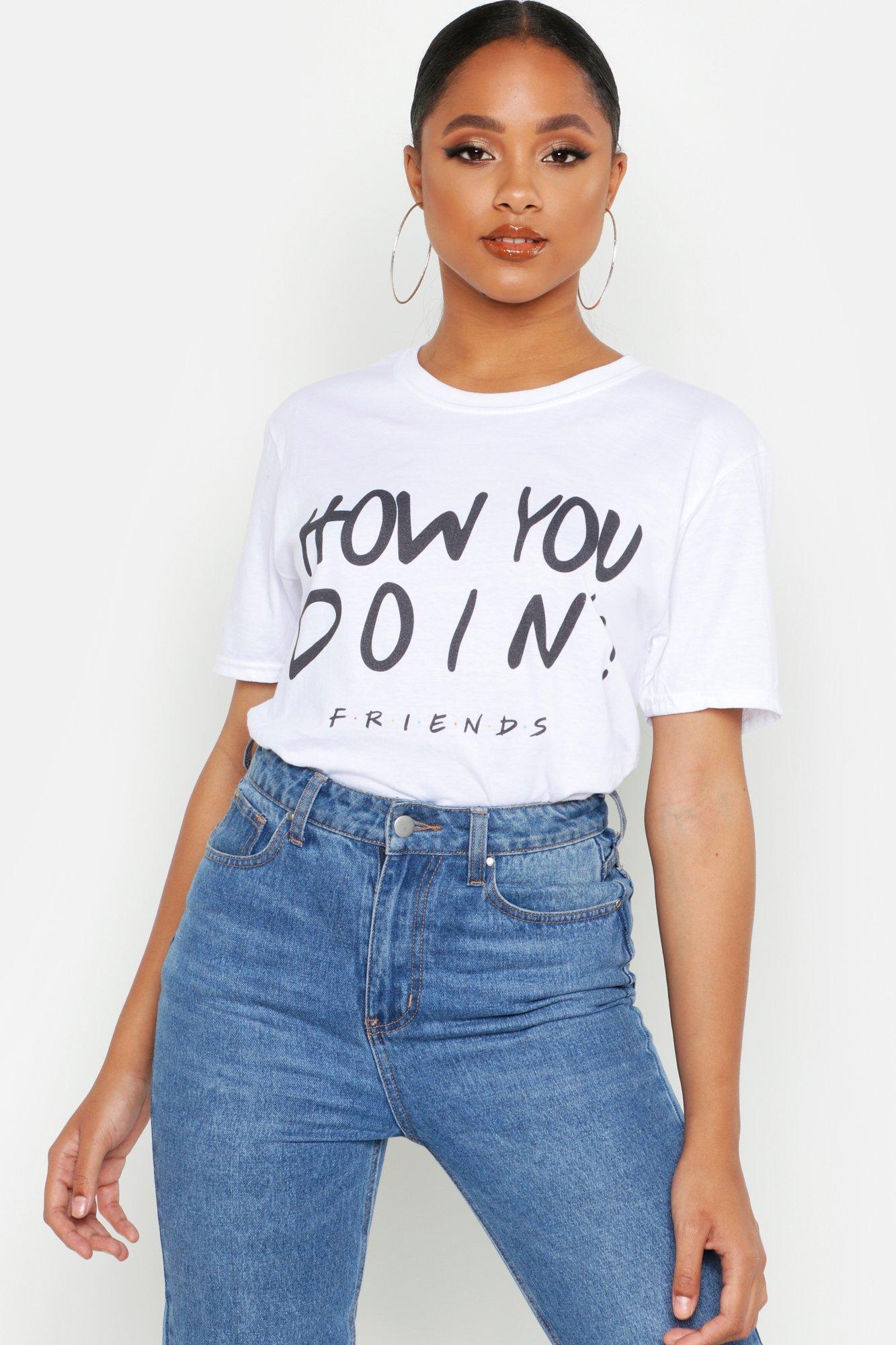 Womens T-Shirt mit lizenziertem Friends How You Doin-Print - Weiß - S, Weiß - Boohoo.com