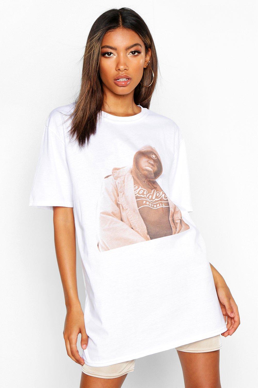 Womens T-Shirt mit lizenziertem Biggie Smalls-Print - Weiß - S, Weiß - Boohoo.com