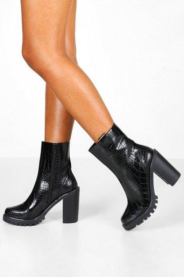 Black Croc Panel Chunky Platform Chelsea Boots
