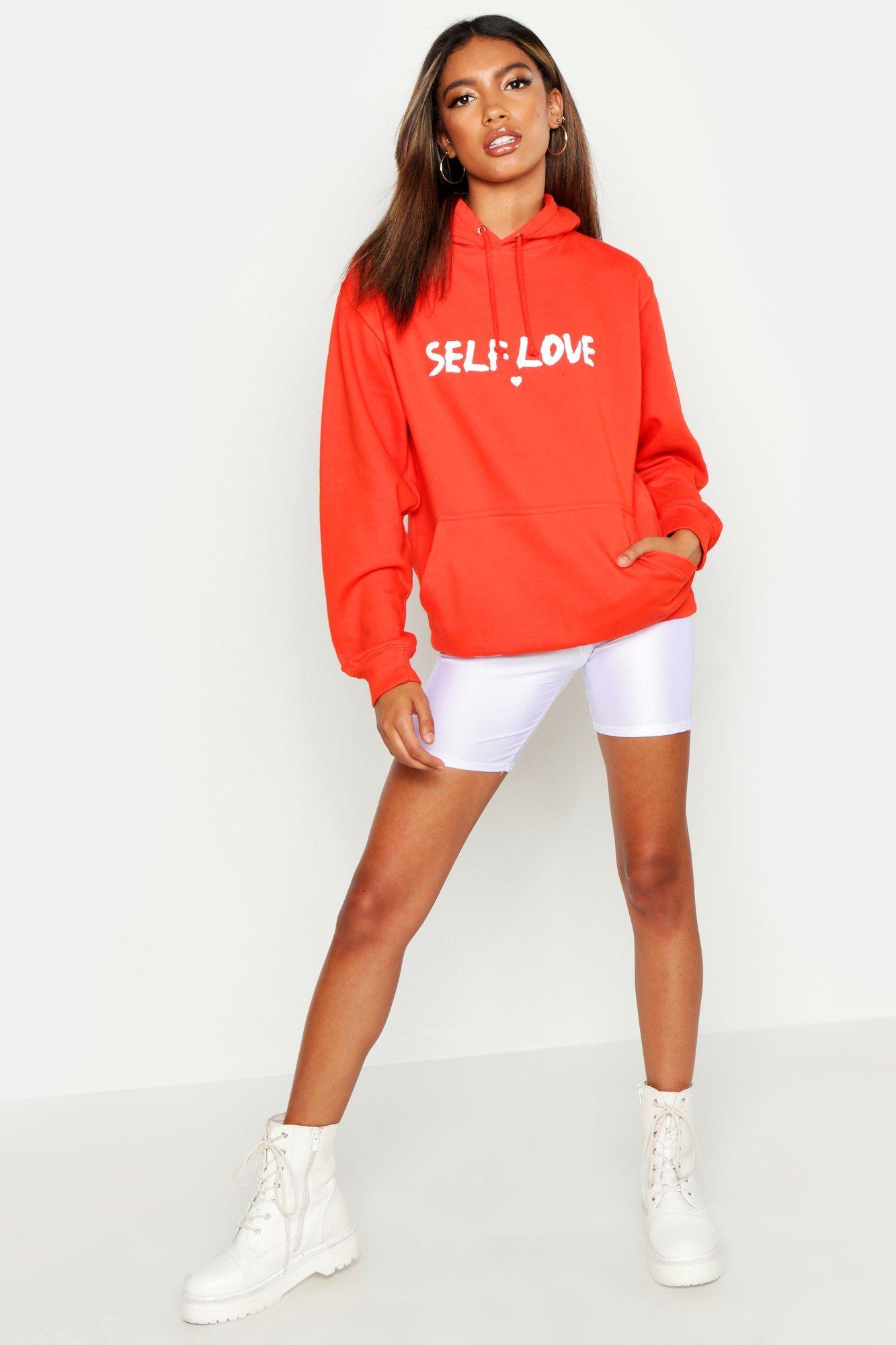 "Womens Hoodie mit Slogan ""Self Love"" - orange - S, Orange - Boohoo.com"