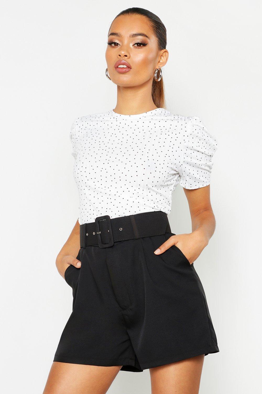 Womens T-Shirt mit Puffärmeln in Tupfen-Print - Weiß - 34, Weiß - Boohoo.com