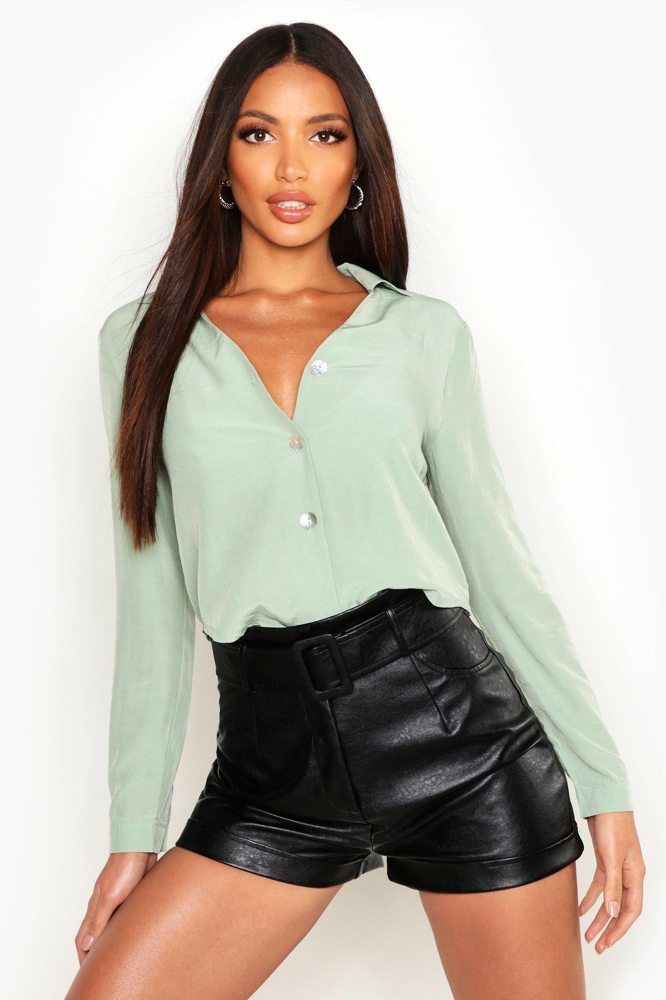 Womens Hemd aus Webmaterial - Salbeigrün - 40, Salbeigrün - Boohoo.com