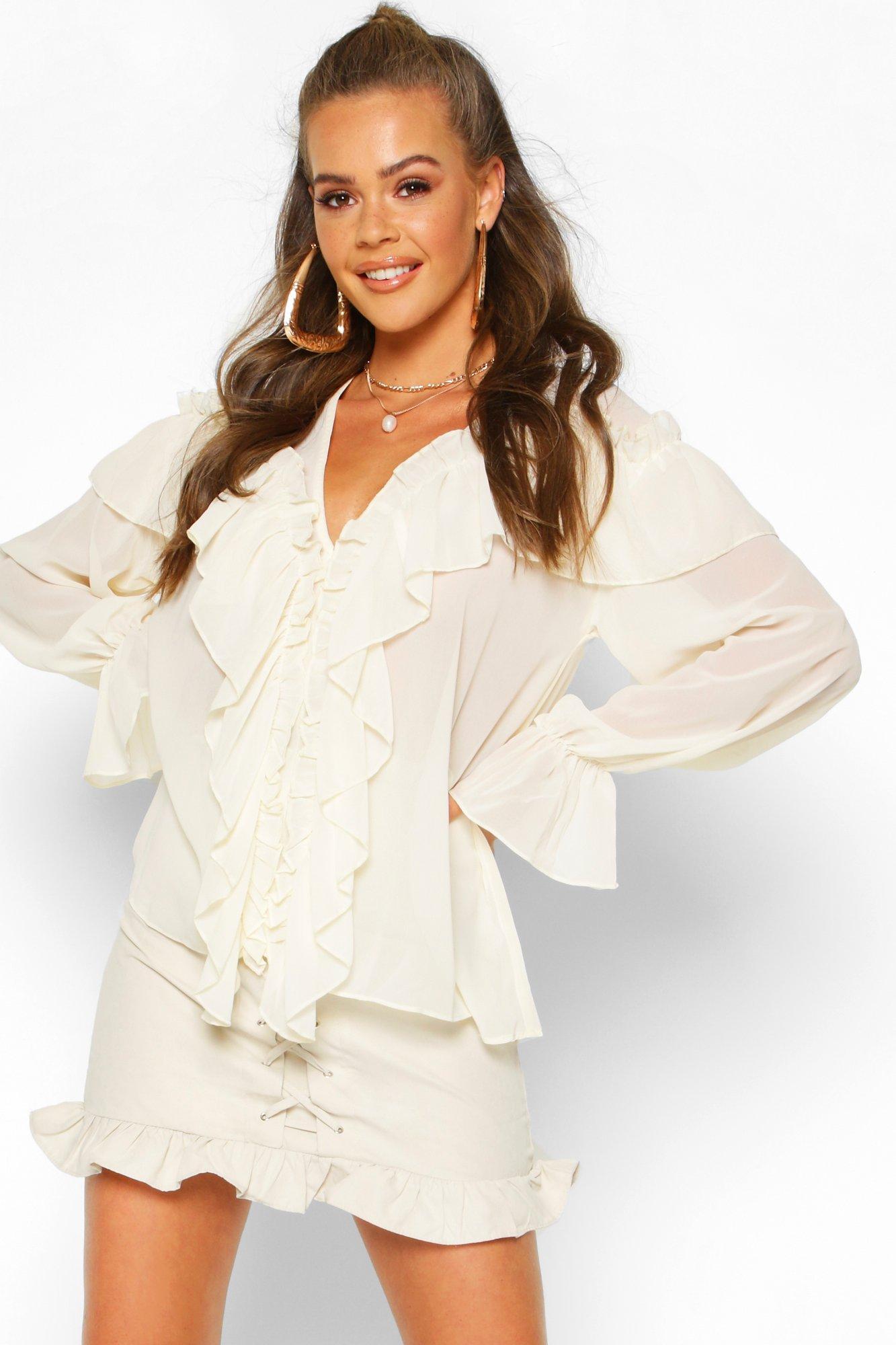 Womens Bluse mit Rüschendetail - elfenbeinfarben - 34, Elfenbeinfarben - Boohoo.com