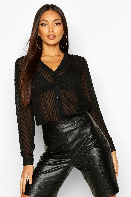 Womens Gestreifte, transparente Bluse mit durchgehender Knopfleiste - schwarz - 32, Schwarz - Boohoo.com