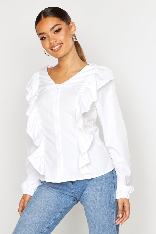 Womens Bluse mit Rüschendetail - Weiß - 34, Weiß - Boohoo.com