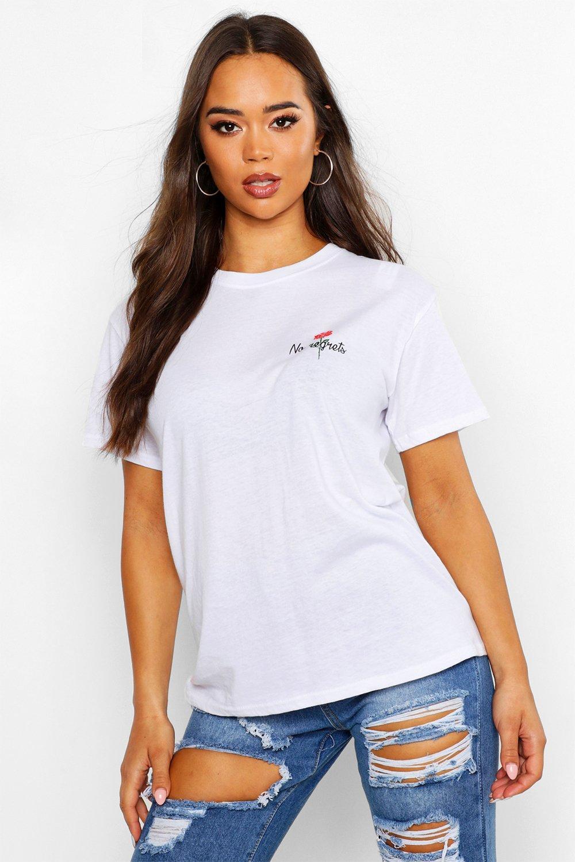 Womens T-Shirt mit No Regrets Rose Tasche - Weiß - M, Weiß - Boohoo.com