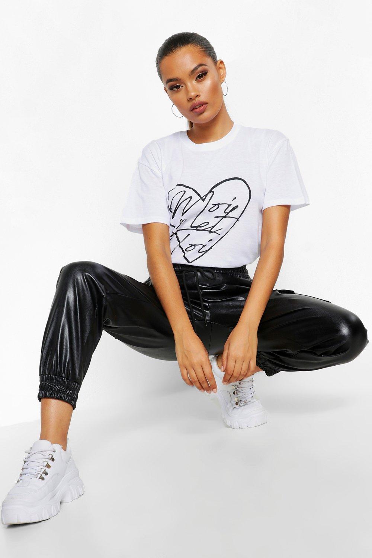 Womens T-Shirt mit Moi Et Toi Herz - Weiß - S, Weiß - Boohoo.com