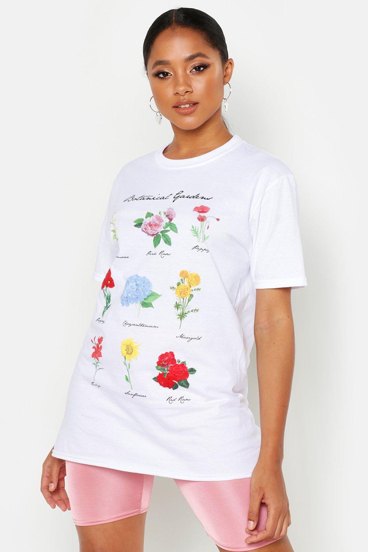Womens T-Shirt mit Blumen-Print - Weiß - M, Weiß - Boohoo.com