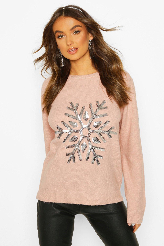 Womens Weihnachtspullover mit Schneeflocken - Blassrosa - S, Blassrosa - Boohoo.com