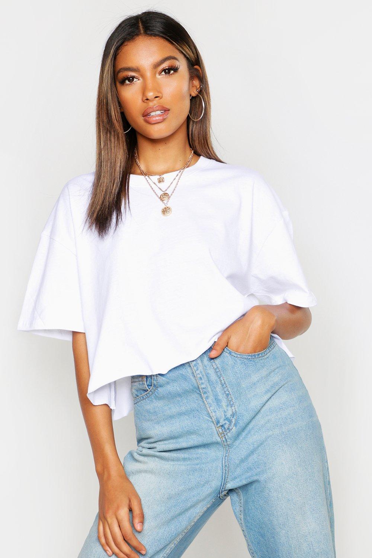 Womens Kurzes Boxy T-Shirt - Weiß - S, Weiß - Boohoo.com
