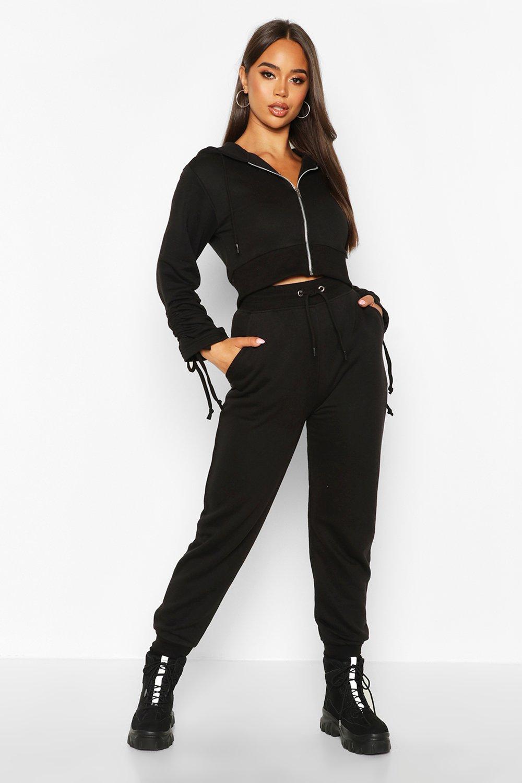 Womens Kurzer Trainingsanzug mit gerafften Ärmeln und durchgehendem Reißverschluss - schwarz - 34, Schwarz - Boohoo.com