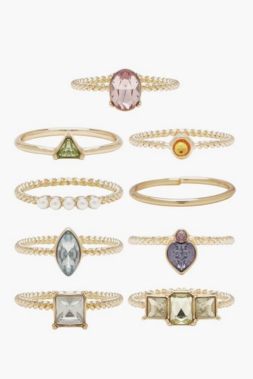 Gold Pastel Stone And Pearl Stacking Rings