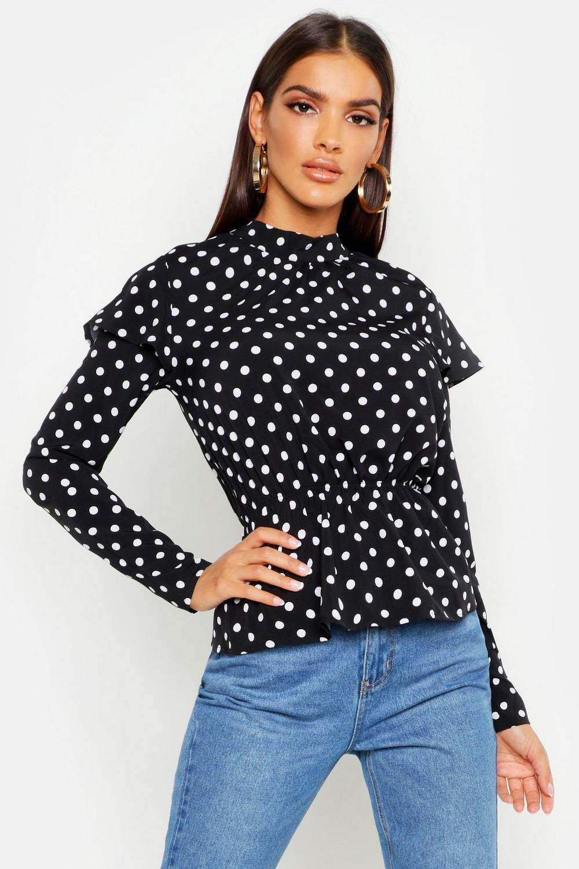 Womens Hochgeschlossene Polka-Dot Bluse mit Rüschendetails - schwarz - 32, Schwarz - Boohoo.com