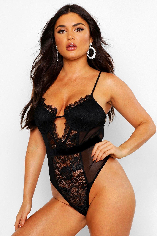 Womens Body aus Spitze und Mesh mit Trägerbesatz - schwarz - 32, Schwarz - Boohoo.com