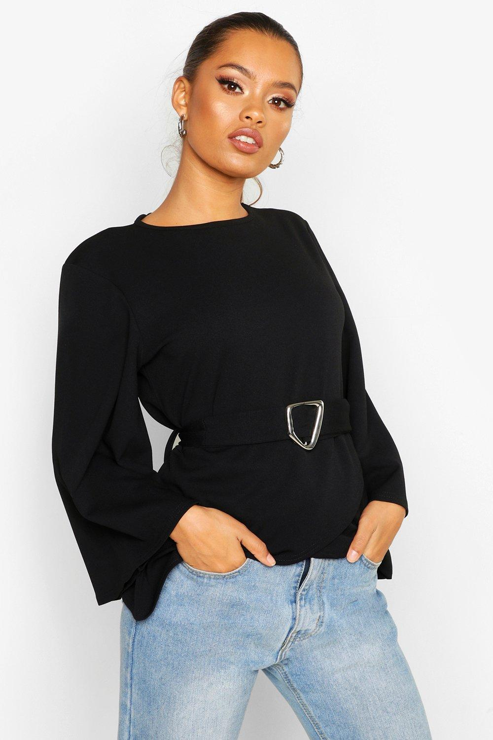 Flared Sleeve Belted Top