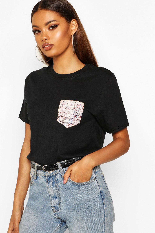 Womens T-Shirt aus Webstoff mit falscher Tasche - schwarz - S, Schwarz - Boohoo.com