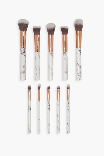 Black 10 Piece Rose Gold Marble Make Up Brush Set