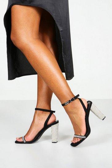Black Square Toe Diamante Detail 2 Part Heels