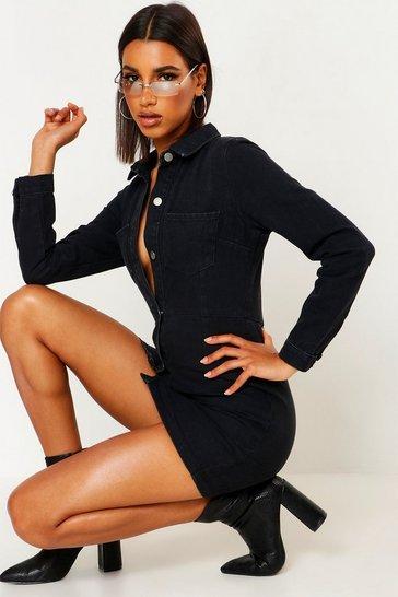 Black Button Front Pocket Denim Dress