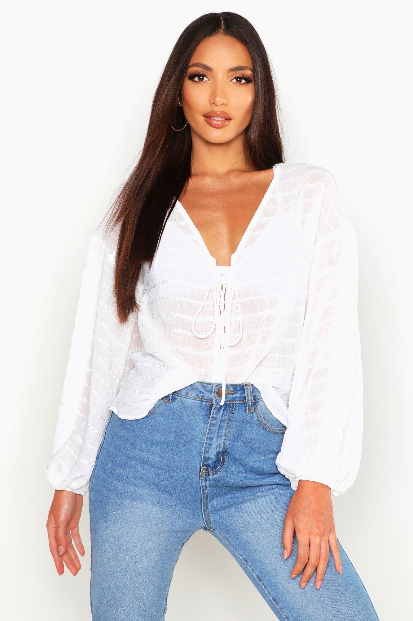 Womens Gewebte Bluse mit Ballonärmeln und farblich abgestimmter Schnürung - Weiß - 32, Weiß - Boohoo.com