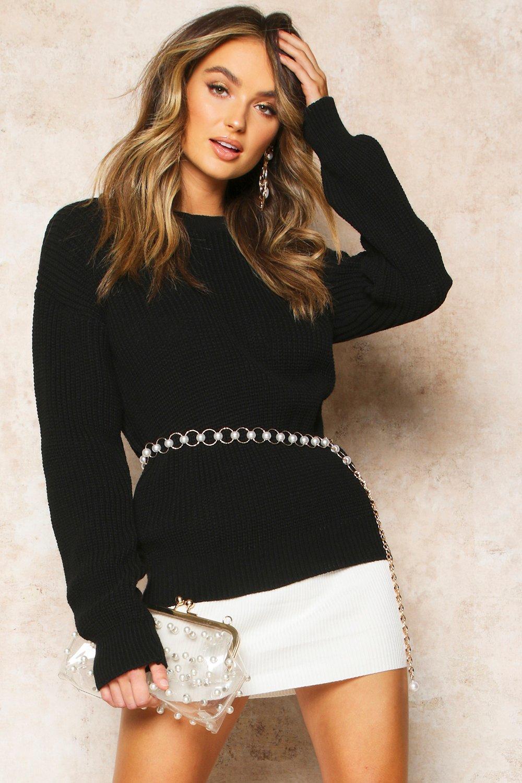 Womens Oversized-Pullover - black - L, Black - Boohoo.com