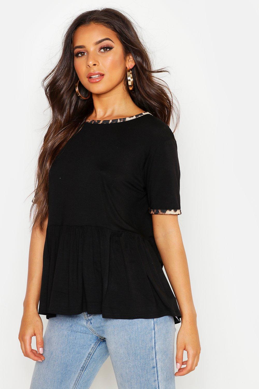 Womens T-Shirt mit Gummizug und Leopardenmuster-Bündchen - schwarz - 32, Schwarz - Boohoo.com