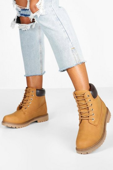 Tan Wide Fit Hiker Boots